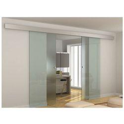 Naścienne podwójne drzwi przesuwne ALINA - wys. 205 × szer. 166 cm - Szkło hartowane
