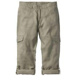 Bonprix Spodnie lniane bojówki z wywijanymi nogawkami regular fit khaki