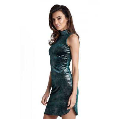 fa4c2a9edd9421 Seksowna zielona krótka sukienka z półgolfem marki Ivon