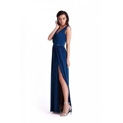 b9d168d1ff Atramentowa kopertowa maxi sukienka z rozcięciem na nodze