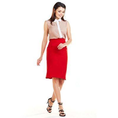 Tania Czerwona Dopasowana Spódnica z Asymetrycznym Założeniem