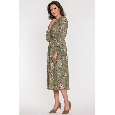 Khaki sukienka w kwiaty Liliana Aggi, kolor zielony