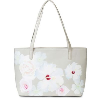 fc63396a57302 Torebka shopper w kwiaty bonprix jasnoszaro-kolorowy