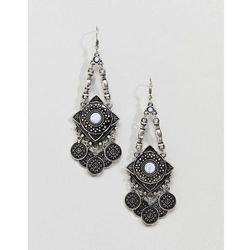 ASOS DESIGN Engraved Shape And Coin Stone Drop Earrings - Silver