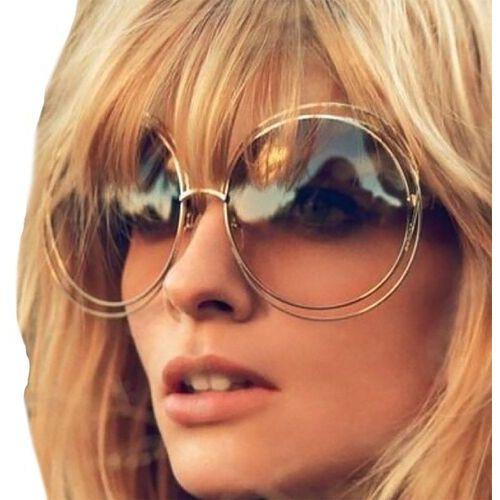 Okulary przeciwsłoneczne, Okulary damskie złote okrągłe przeciwsłoneczne