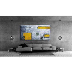 Idealny dla miłośników nowoczesności duży obraz na ścianę do salonu - Żółć i popiel rabat 10%