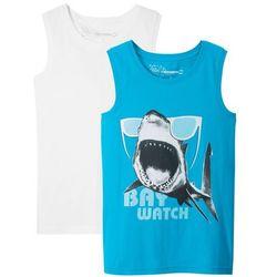 Koszulka bez rękawów (2 szt.) bonprix lodowy niebieski z nadrukiem + biały