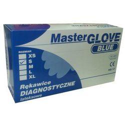 Rękawice lateksowe, pudrowane, gładkie, niebieskie, niejałowe MASTER GLOVE rozmiar L opakowanie 100 szt.