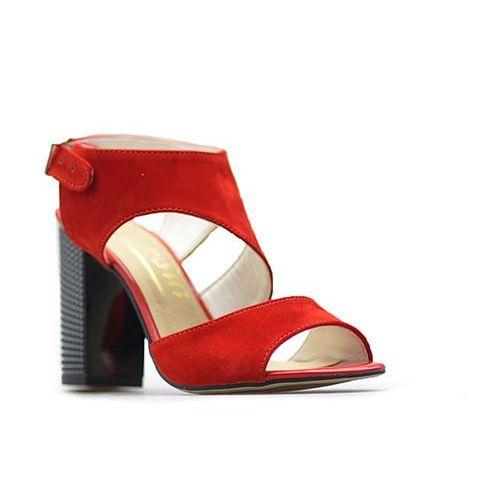 Sandały damskie, Sandały For-But 1570 Czerwone zamsz