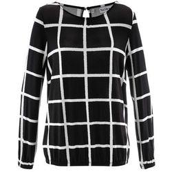 Shirt z elastycznym wykończeniem rękawów i dołu, długi rękaw, z kolekcji Maite Kelly bonprix czarno-biel wełny w kratę