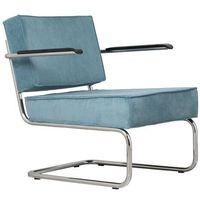 Krzesła, Zuiver Krzesło Lounge RIDGE RIB ARM niebieskie 3100017