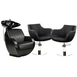 Zestaw Mebli Fryzjerskich Thomas Myjnia + 2 Fotele Czarne
