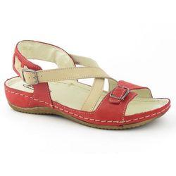 Sandały damskie Helios 215 - czerwony   beż