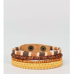 ASOS Leather and Beaded Bracelet Pack In Orange - Multi
