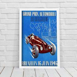 Plakat vintage Plakat vintage Grand Prix Belgijskiego wyścigu samochodowego