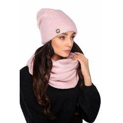 Basicowy komplet czapka z perełką i komin LC141 pudrowy róż