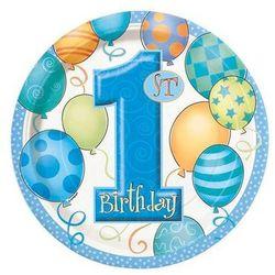 Talerzyki na roczek 1st Birthday Baloniki Blue - 23 cm - 8 szt
