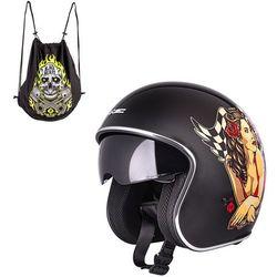 Kask motocyklowy otwarty z blendą W-TEC V537 Black Heart chopper, Czarny błyszczący, M (57-58)