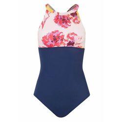 Bikini bandeau (2 części) bonprix biało-złocisto-niebieski z nadrukiem