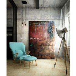 Efektownie rzeźbiony abstrakcyjny obraz wielkoformatowy rabat 35%