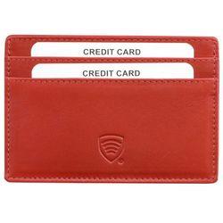 Skórzane Damskie Etui na Karty Kredytowe Zbliżeniowe RFID Skóra - Czerwony