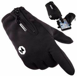 Wozinsky uniwersalne sportowe wodoodporne rękawiczki na zimę do ekranów dotykowych czarny (WTG1BK)