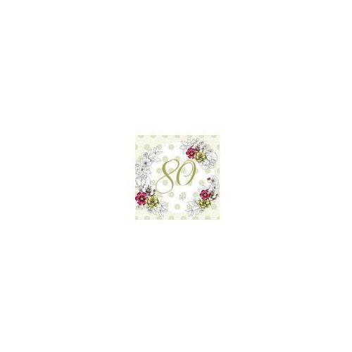 Pozostałe artykuły szkolne, Karnet Swarovski kwadrat CL1480 Urodziny 80 kwiaty