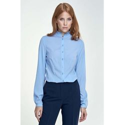 Błękitna Bluzka Koszulowa ze Stójką