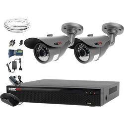 Zestaw do monitoringu 2 kamery HD 1MPx LV-AL20MT Rejestrator LV-XVR44N Chmura Akcesoria