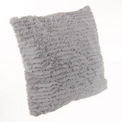 Poduszka futerkowa, poliester 45x45 cm, szary