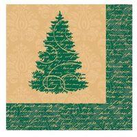 Ozdoby świąteczne, Serwetki na Boże Narodzenie z Choinką - 33 cm - 16 szt.