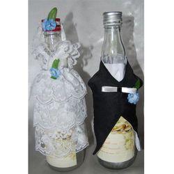Ubranka na butelkę wódki - Koronka białe