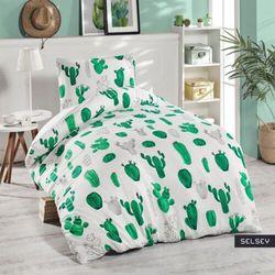 SELSEY Komplet pościeli Kaktusy 140x220 cm z poszewką na poduszkę 50x70 cm