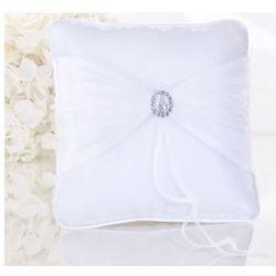 Poduszka pod obrączki 20 x 20 cm biała z organzą i aplikacją