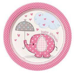 Talerzyki na Baby Shower Słonik z parasolem dla dziewczynki - 23 cm - 8 szt.