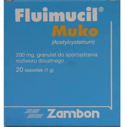 Leki na kaszel, Fluimucil Muko Junior 200 mg 20 sasz.