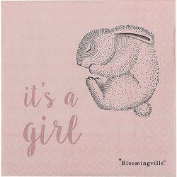 Serwetki papierowe bloomingville mini it's a girl z królikiem 20 szt.