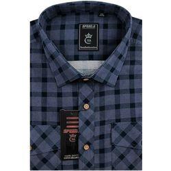 Koszula Męska Speed.A sztruksowa fioletowa w kratkę na długi rękaw duże rozmiary D945