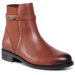 Botki TOMMY HILFIGER - Block Branding Flat Boot FW0FW05155 Pumpkin Paradise GOW