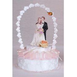 Stroik na tort weselny wstążka różowy mała para