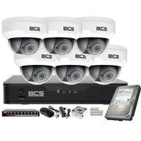 Kamery przemysłowe, Monitoring wideo audio kasy stacji paliw sklepu BCS Point Rejestrator IP + 6x Kamera BCS-P-212RWSA + Akcesoria