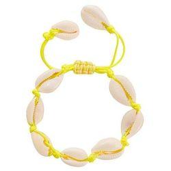 Bransoletka damska sznurek muszle muszelki żółta - żółty