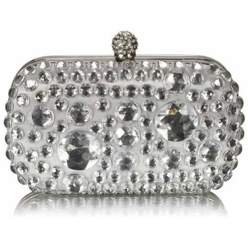 Torebki, Kryształowa srebrna wizytowa torebka damska - srebrny