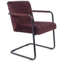 Fotele, Dutchbone Fotel STITCHED velvet fioletowy 1200182
