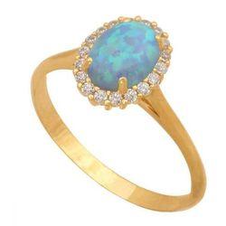 Złoty pierścionek naturalny kamień Opal Pn049