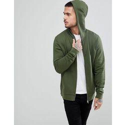 ASOS Zip Up Hoodie With Gold Side Zips - Green