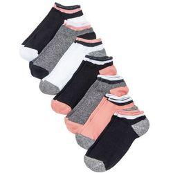 Skarpetki do sneakersów (7 par) bonprix czarny melanż - koralowy - biały