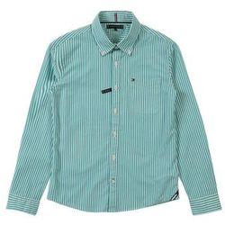 TOMMY HILFIGER Koszula 'ESSENTIAL STRIPE SHIRT L/S' zielony / pomarańczowy