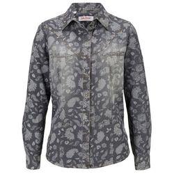 Koszula dżinsowa, długi rękaw bonprix jasnoszaro-biały z nadrukiem