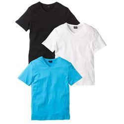 T-shirt z dekoltem w serek (3 szt.) Regular Fit bonprix biały + turkusowy + czarny